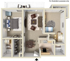 Hampton Floor Plan - 2 Bed 2 Bath, at The Madison Park Apartments, Anaheim, CA 92804