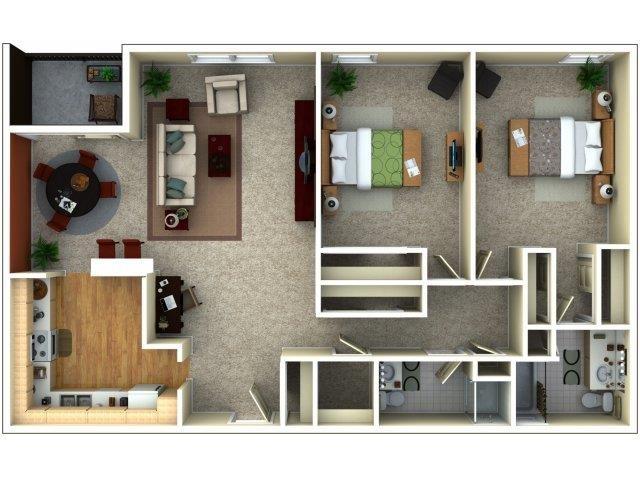 2 Bedroom Floor Plan 2
