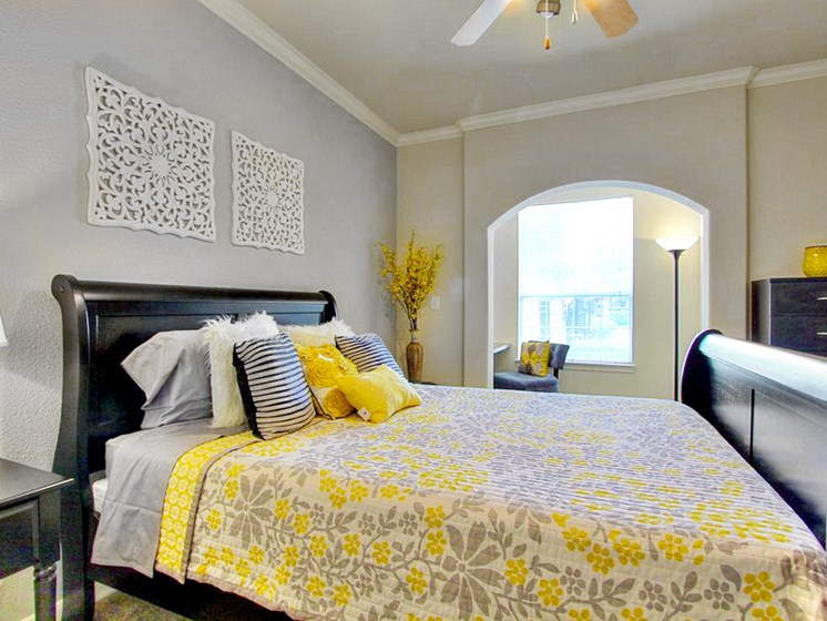 Live In Cozy Bedrooms With Ceiling fan at The Bridges on Eldridge, Houston, Texas