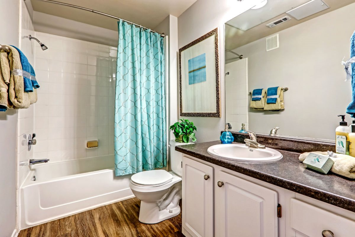Large Soaking Tub In Master Bathroom with A Tile Surround at Ranchstone Apartments, 17125 E Carlson Drive, Parker