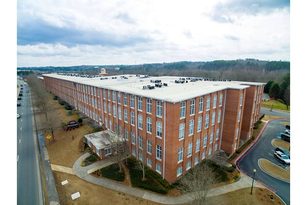 Aerial View at Canton Mill Lofts Apartments in Canton, GA