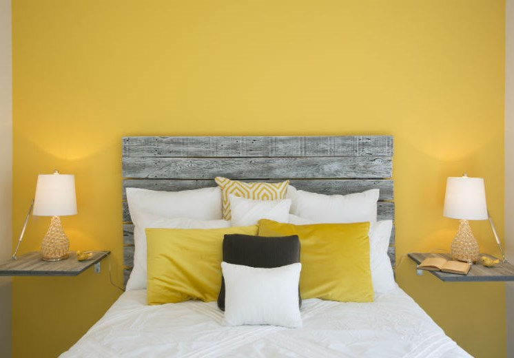 Impressive Bed in Bedroom with Yellow Accents