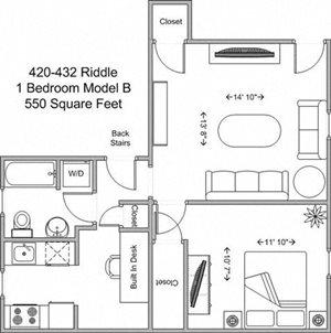 1 Bedroom - Model B