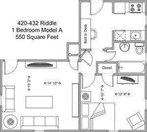 1 Bedroom - Model A