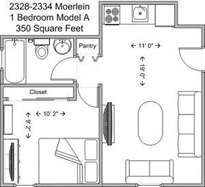 1 Bedroom Model A - Lower Level