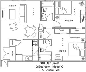 2 Bedroom, 2 Bath - Model G
