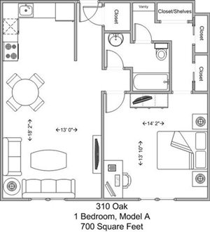 1 Bedroom, 1 Bath - Model A