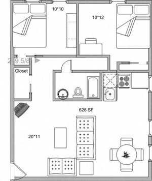2 Bedroom - Large