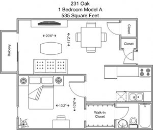 1 bedroom (third floor)