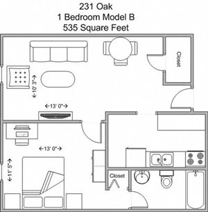 1 Bedroom (first floor, model B)