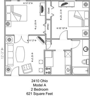 2 Bedroom - Model A, Upper Level