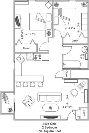 2 Bedroom - upper level
