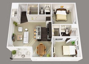 Berkley House large two bedroom layout