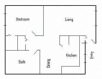 1br 1ba remodeled Floor Plan 2