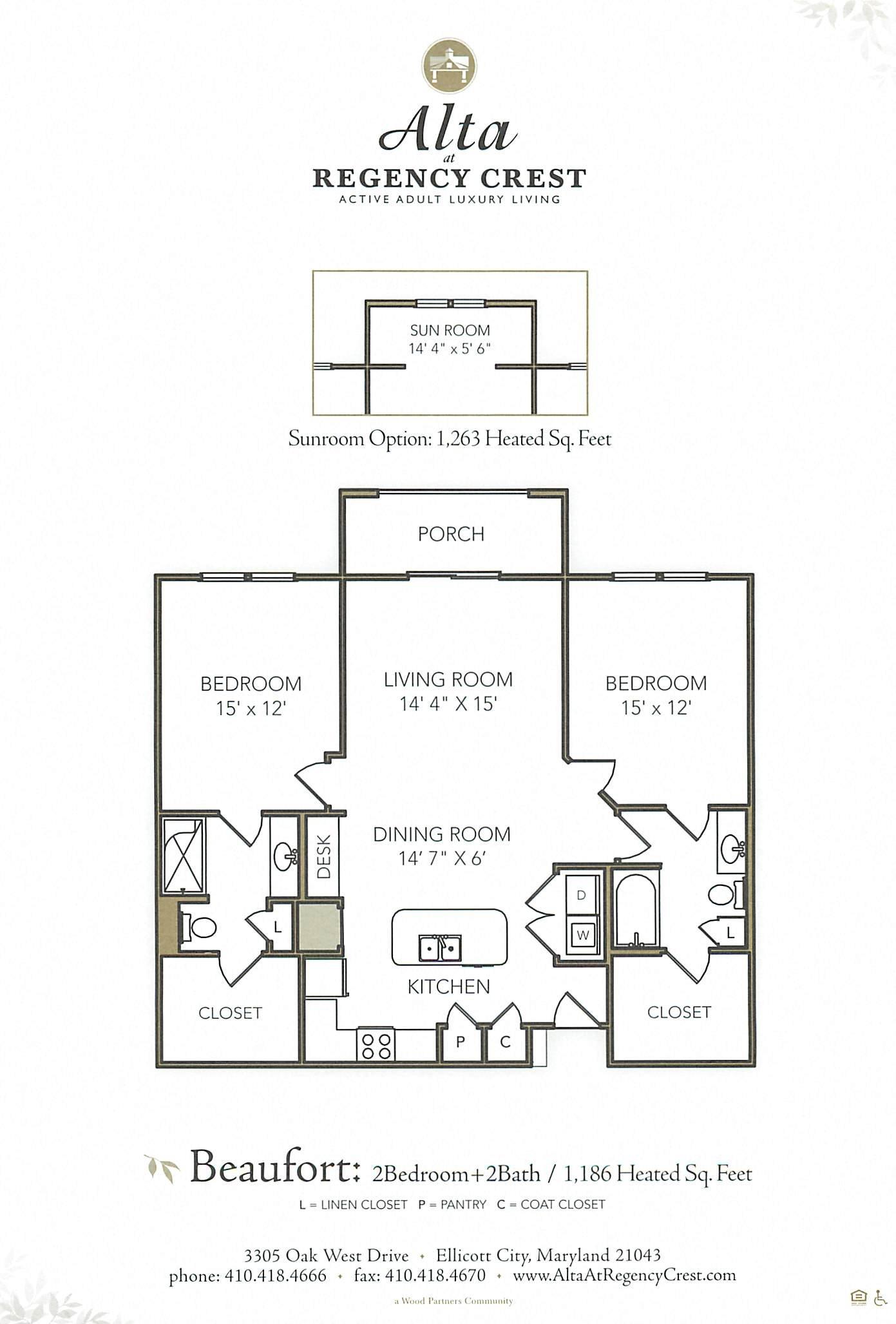 2 Bed/2 Bath Sunroom-Beaufort Floor Plan 4