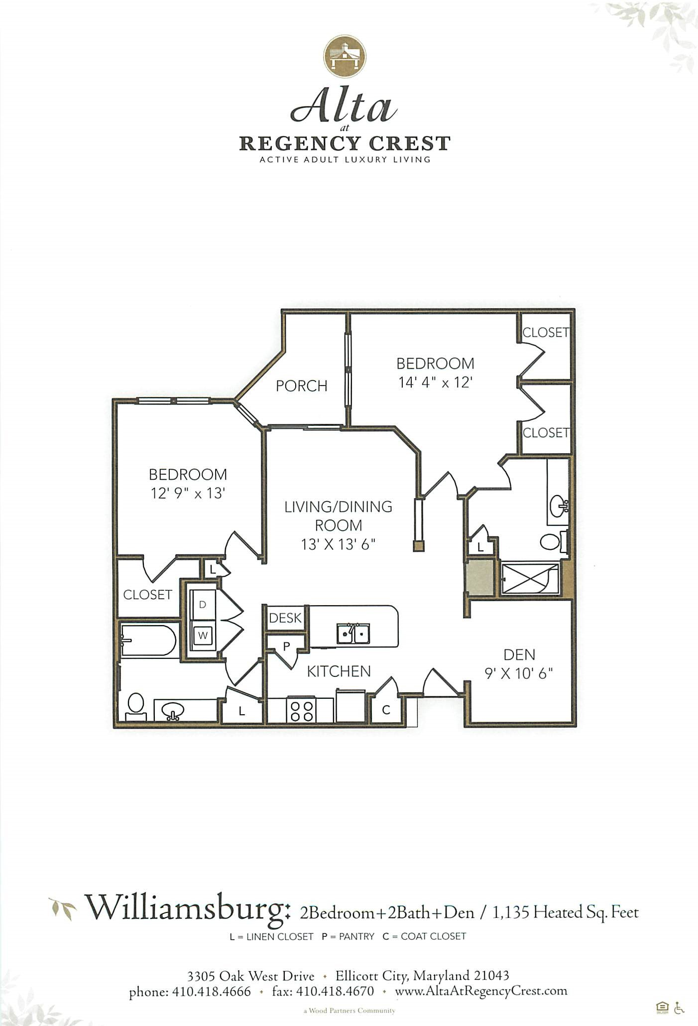 2 Bed/2 Bath Den-Williamsburg Floor Plan 5