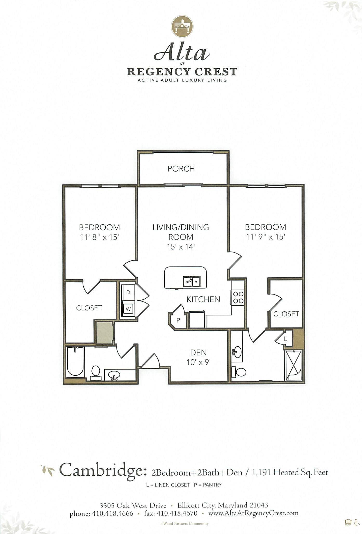 2 Bed/2 Bath Den-Cambridge Floor Plan 6