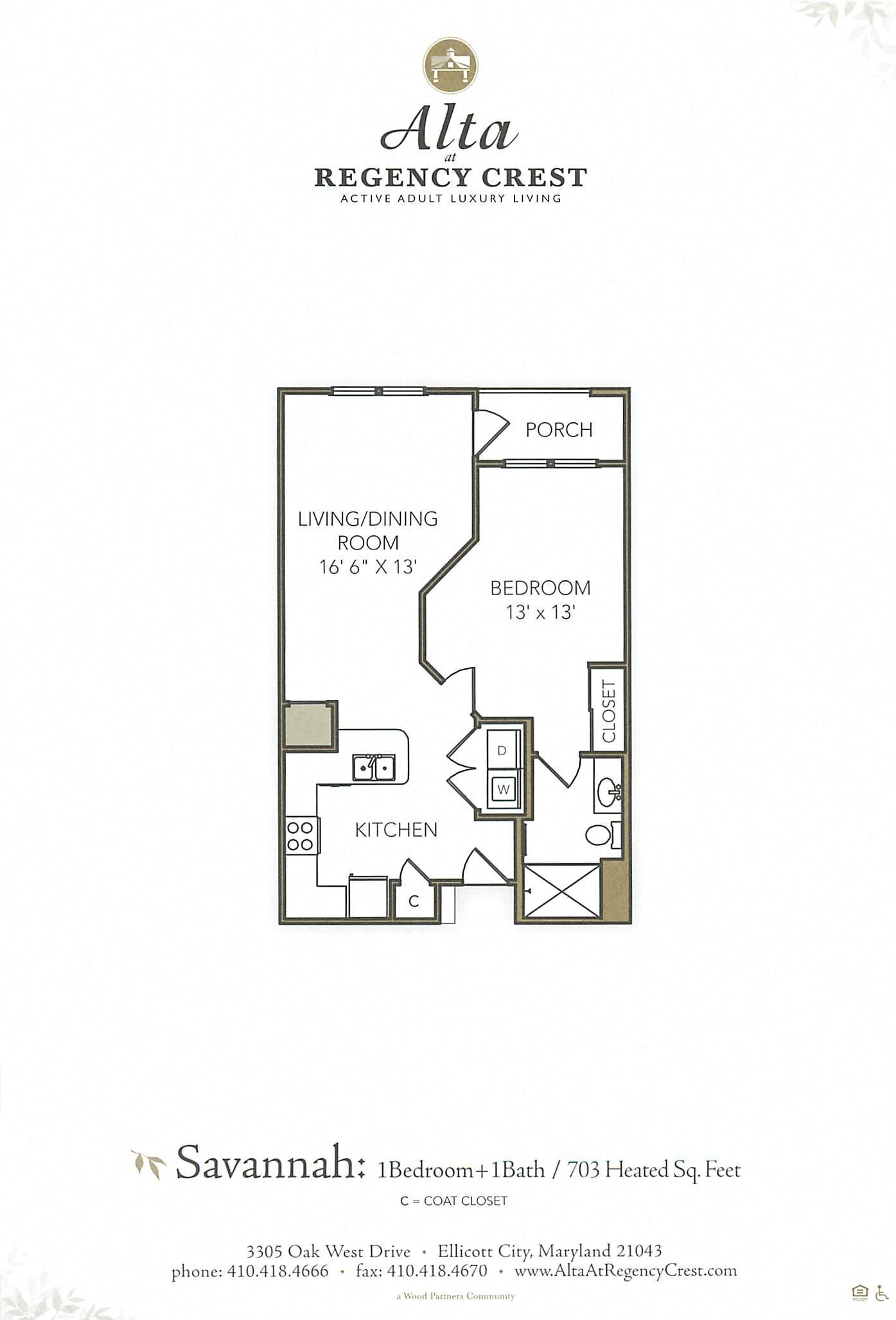 1 Bed/1 Bath MIHU-Savannah Floor Plan 8
