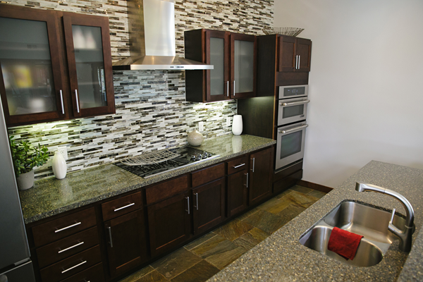subway tiled backsplash at Valley Creek Apartments, Woodbury, MN 55125
