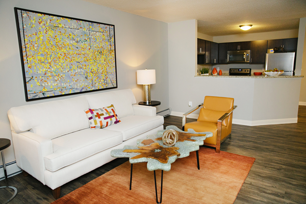 spacious floorplan with breakfast bar at Valley Creek Apartments, Woodbury, MN 55125