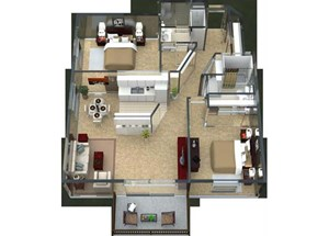 Barcelona Floorplan at Valley Creek Apartments