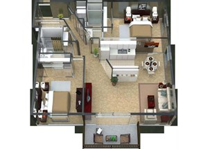Bolero Floorplan at Valley Creek Apartments