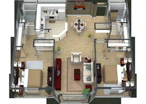Bordeaux Floorplan at Valley Creek Apartments