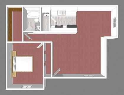 One Bedroom Floor Plan 1