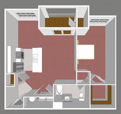 One Bedroom Park Place Floor Plan 4