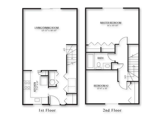 Two Bed - Townhouse Floor Plan 3