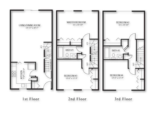 Four Bed - Townhouse Floor Plan 5