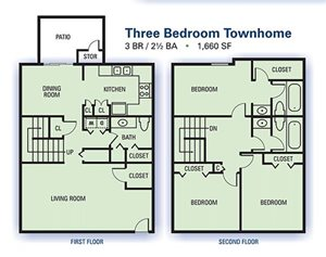 Aspen Pointe Three Bedroom Townhome Floor Plan 1,660sq ft