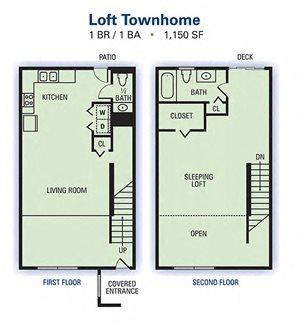 1 Bedroom Bathroom Townhome