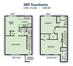 2 Bedroom 2.5 Bathroom Townhome