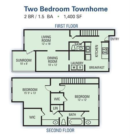 2 Bedroom Townhome Floor Plan 2