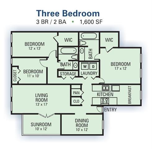 3 Bedroom Garden Floor Plan 3