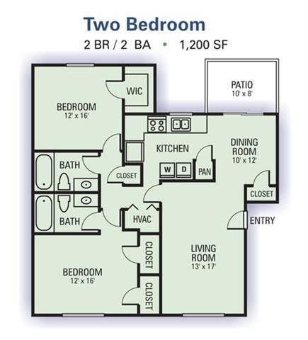 Two Bedroom Garden Floor Plan 1