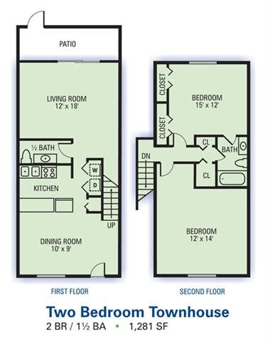 Two Bedroom Townhouse Floor Plan 2
