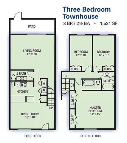Three Bedroom Townhouse Floor Plan 3
