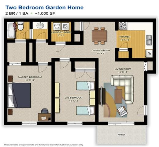 2 Bedroom Garden Home Floor Plan 1