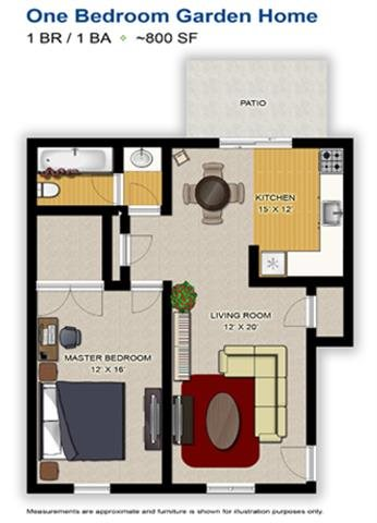 1 Bedroom Garden Home Floor Plan 1