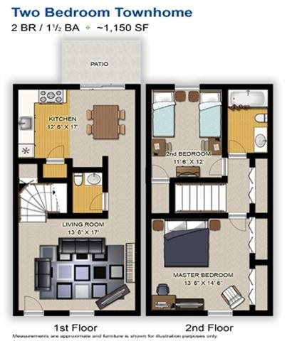2 Bedroom Townhome Floor Plan 2