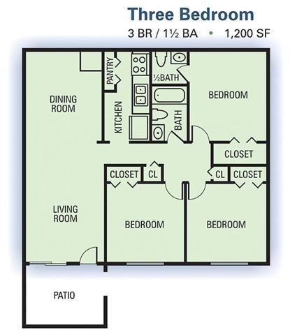 3 Bedroom Floor Plan 2
