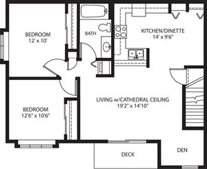 2 Bed 1 Bath Den Upper