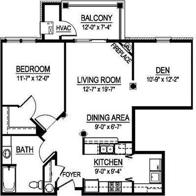 GTS Arlington I - 1 Bed, 1 Bath w/ Den