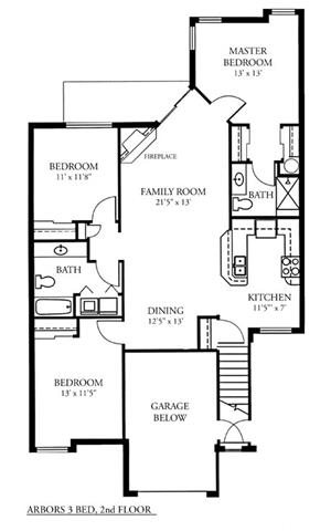 3 Bed 2 Bath Int. 2nd Flr Arbors