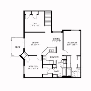 "CP Oakshire - UPPER - 2 Bed, 2 Bath + Den ""H-Building"""