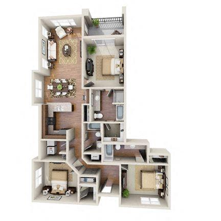 The Donzi Floor Plan at LangTree Lake Norman Apartments, North Carolina, 28117