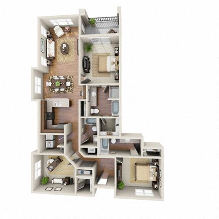 The Sundancer Floor Plan at LangTree Lake Norman Apartments, Mooresville, NC, 28117