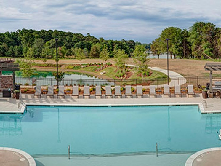 Lakeside Pool and sundeck at LangTree Lake Norman Apartments